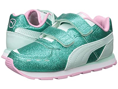 Puma Kids Vista Glitz Velcro (Toddler) (Fair Aqua/Pale Pink) Girls Shoes