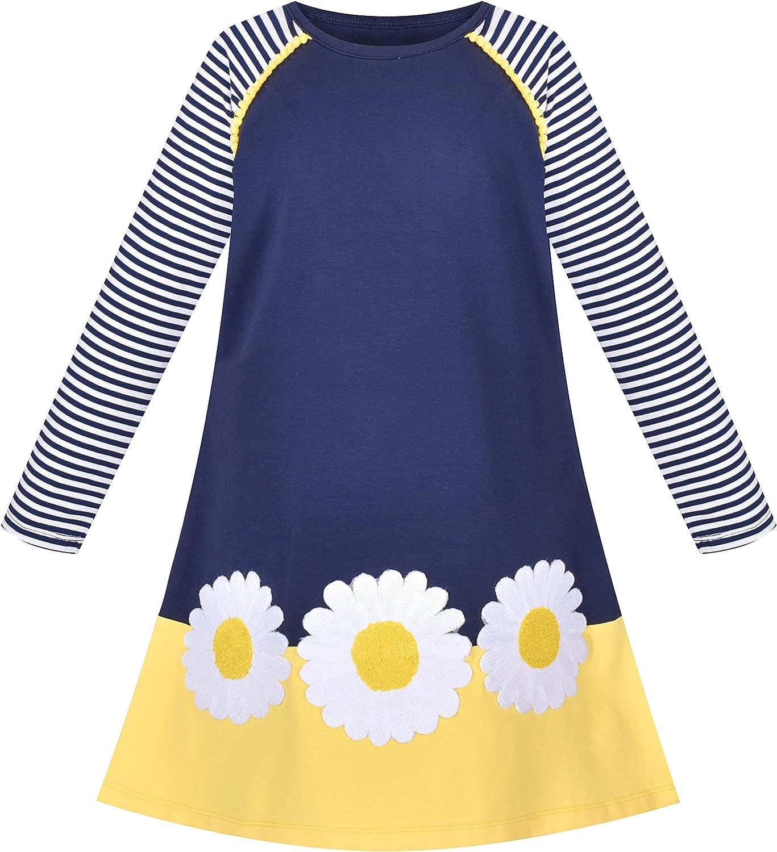 Sunny Fashion Girls Dress Long Sleeve Daisy Flower Striped Casual Cotton