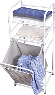 Laundry Basket with 2-Tier Storage Shelf, Pull-Out Laundry Sorter Hamper, Dirty Clothes Basket for Home, Bathroom, Bedroo...