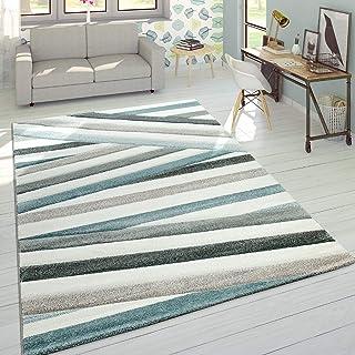 Paco Home Alfombra De Diseño Moderna Contorneada En Colores Pastel A Rayas Y Zigzag En Azul y Crema, tamaño:120x170 cm