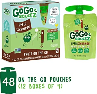 GoGo squeeZ Applesauce on the Go, Apple Cinnamon, 3.2 Ounce (48 Count), Gluten Free, Vegan Friendly, Healthy Snacks, Unsweetened Applesauce, Recloseable, BPA Free Pouches