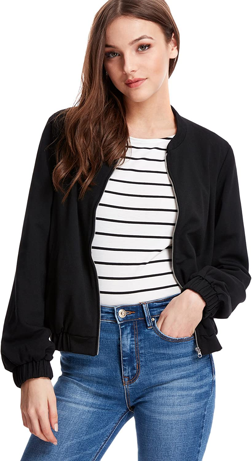 Floerns Women's Causal Long Sleeve Zip up Bomber Jacket with Pockets