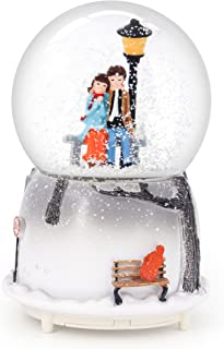 QTMY Musical Snow Globes Ornament Couple Lovers Music Boxes with Led Light for Her Girls