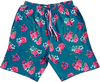 STABLE IMPEX Cotton Knitted Women's Lounge Shorts with Two Side Pockets - Flower Print - Turquoise