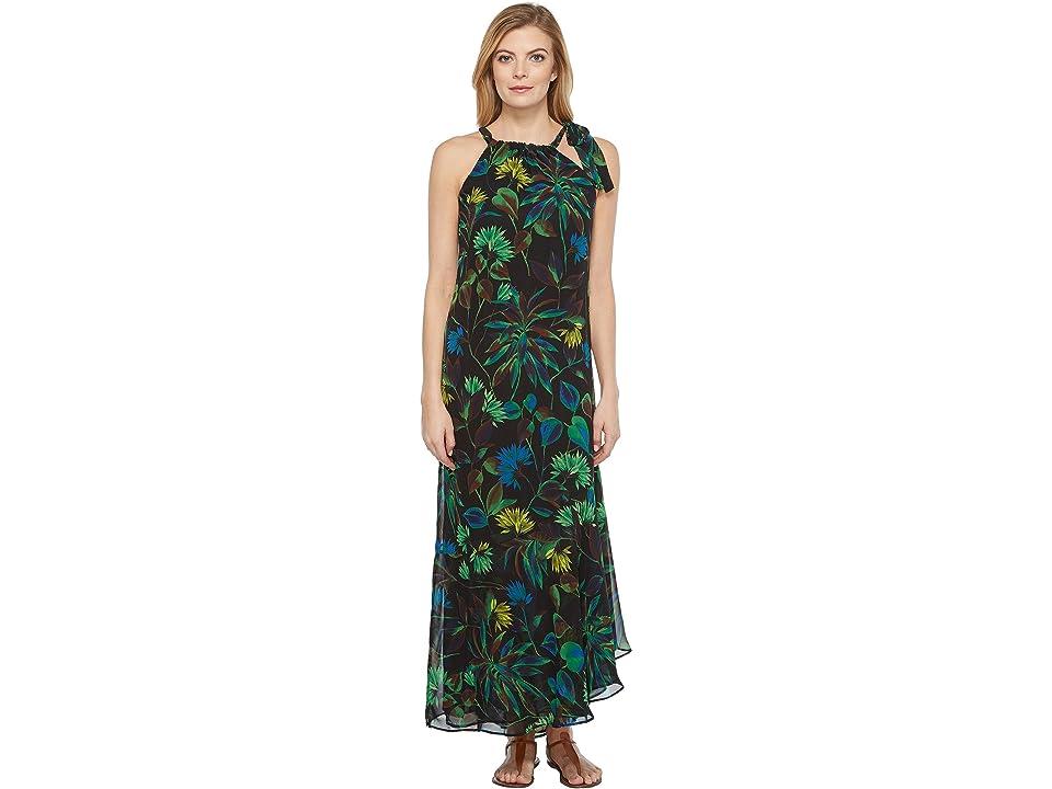 Taylor Floral Chiffon Shoulder Tie Maxi (Black Multi) Women