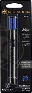 Cross 8511-2 Refills for Ballpoint Pens, Medium, Blue Ink, 2/Pack (85112)