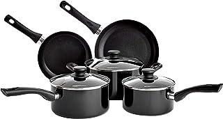 Amazonbasics - Juego de utensilios de cocina de inducción antiadherente de 5 piezas, con tapas