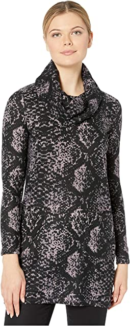 Tribal Womens Long Sleeve Cowl Neck Tunic with Slit and Pockets
