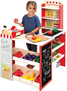 Best Choice Products Pretend Play Grocery Store Wooden Supermarket Toy Set for Kids w/ Play Food, Chalkboard, Cash Registe...