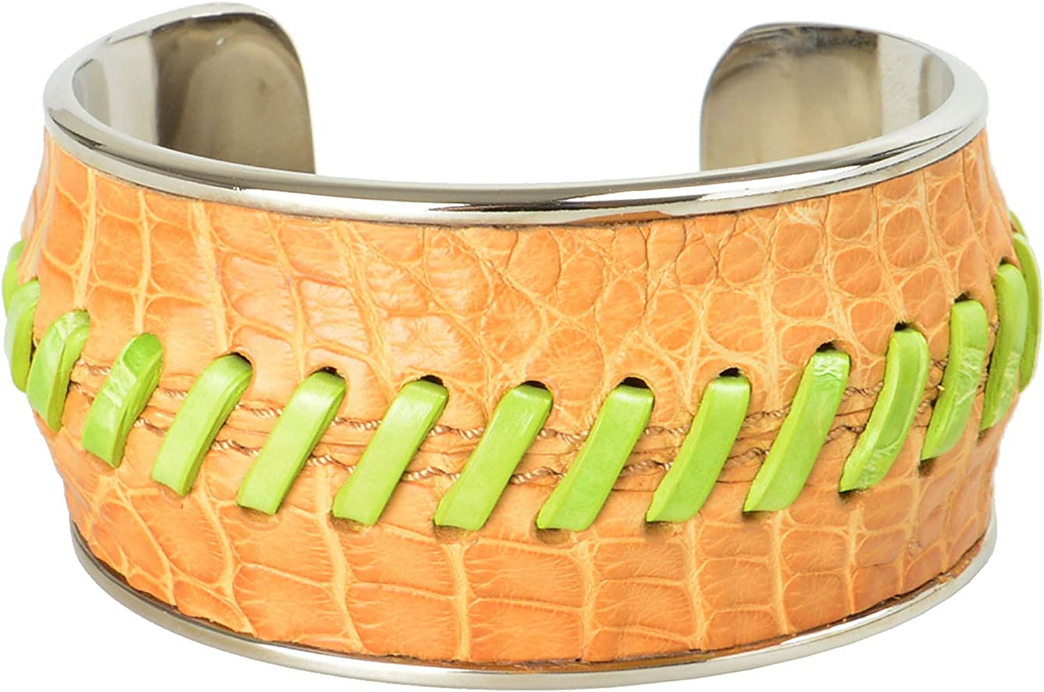 Tod's Brown Green Leather Metal Unisex Cuff Bracelet