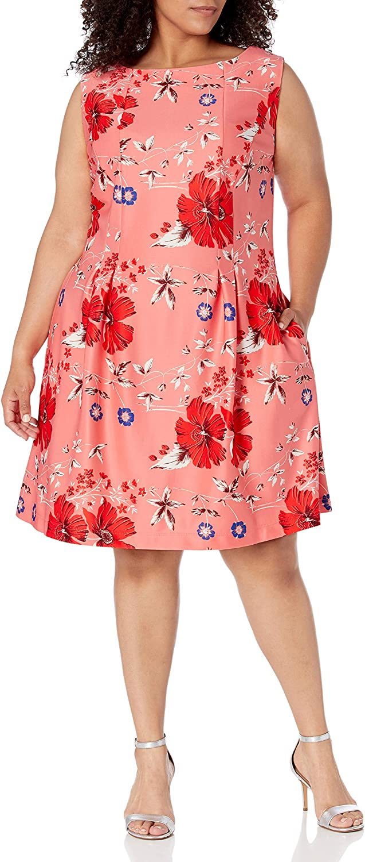 Taylor Dresses Women's Sleeveless Pleat Skirt Floral Print Scuba Dress