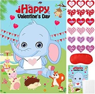 Valentines Day Games for Kids Party Favors - Pin the Heart on the Elephant, Valentines Stickers, Kids Valentine's Day Part...