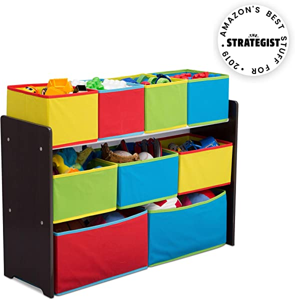 Delta Children Deluxe Multi Bin Toy Organizer With Storage Bins Dark Chocolate Primary