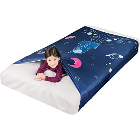 Sensory Compression Sheet for Kids, Twin Size Stretchy Bed Sheet with Breathable Fabric, A Smart Weighted Blanket Alternative, Mattress Fitted Bedding, Dream Rocket Ship Design