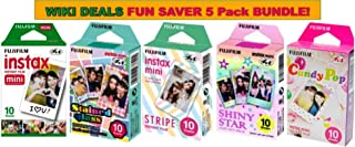 Fujifilm Instax Mini Instant Film Bundle, Candy Pop, Stained Glass, Stripe, Shiny Star, Single Pack