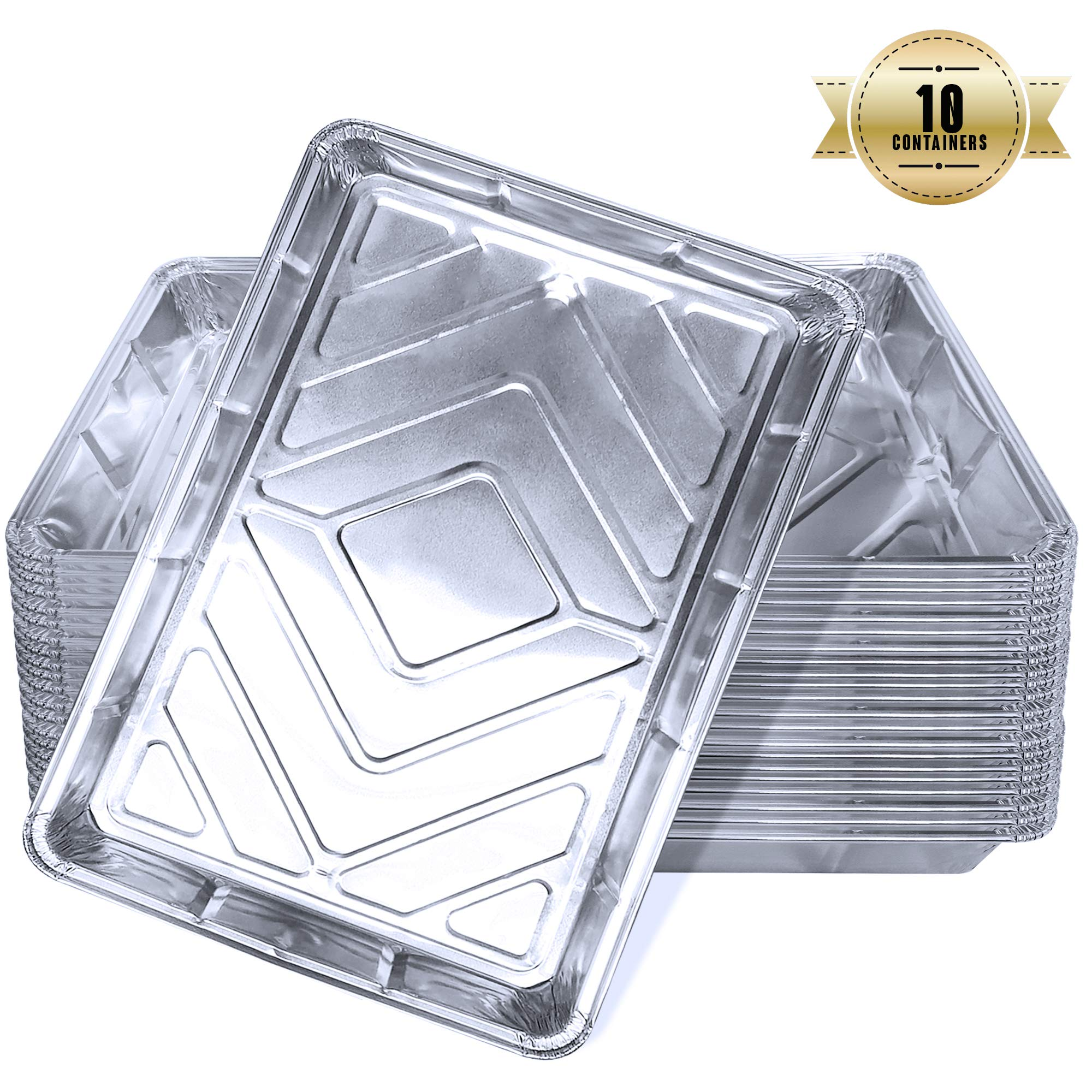 10 Large Foil Tray Bake containers Aluminium Recyclable 12 x 8 Includes a Free 21 Disposable Piping Bag!