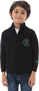 Alma Mater NCAA Coastal Carolina Chanticleers Boys Quarter Zip Sweater, 6 Tall, Black