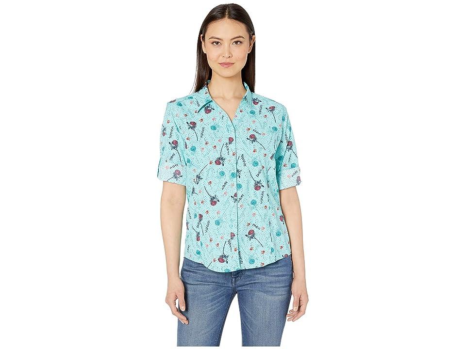 Royal Robbins Expedition Print 3/4 Sleeve Shirt (Aqua Print) Women