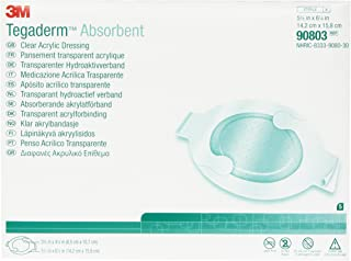 3M Tegaderm Absorbent Clear Acrylic Dressing,Small Square 90802 (Pack of 30)