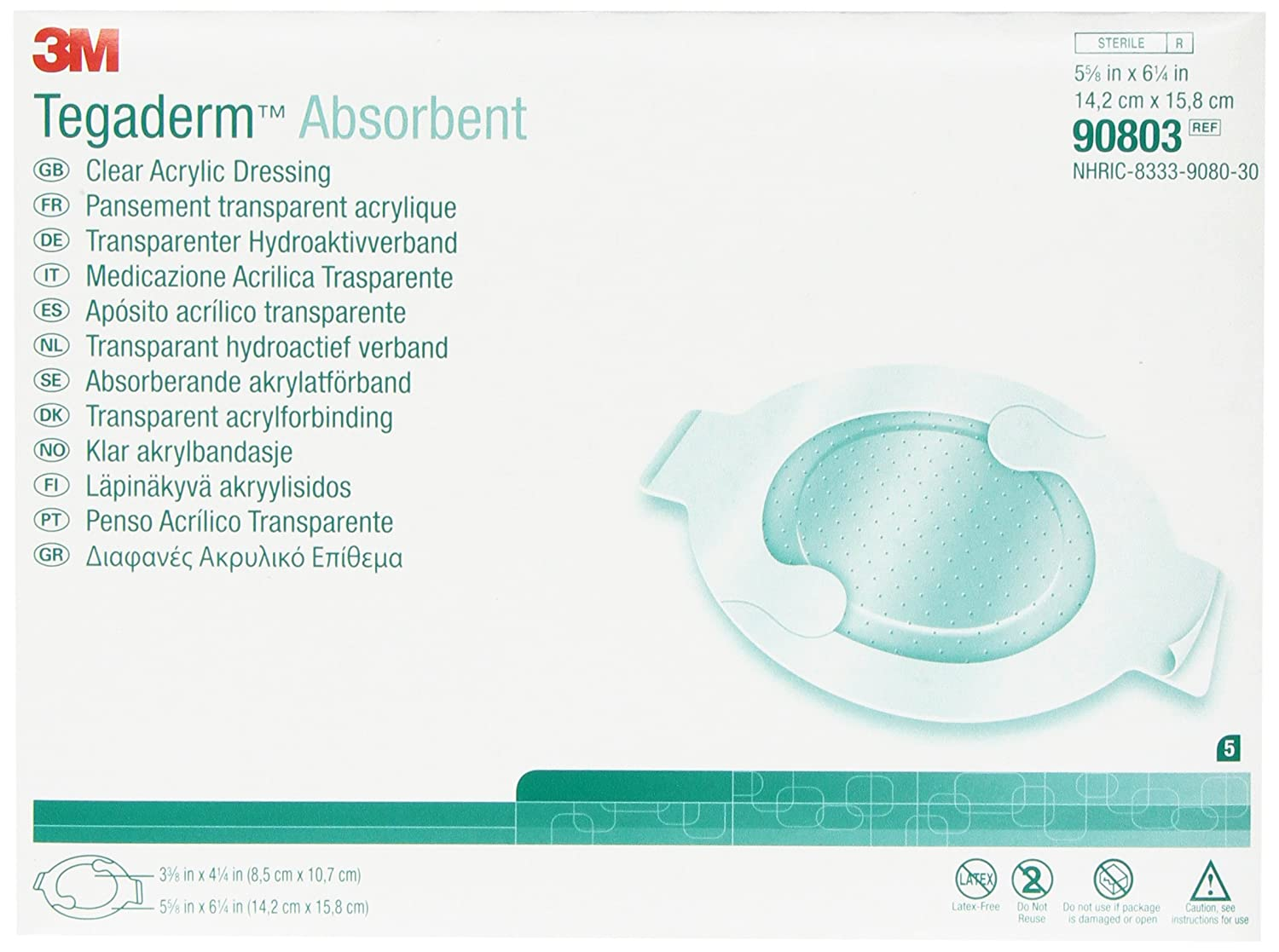 3M Tegaderm Absorbent Clear Directly managed store 100% quality warranty Acrylic Dressing Medium 90802 Oval