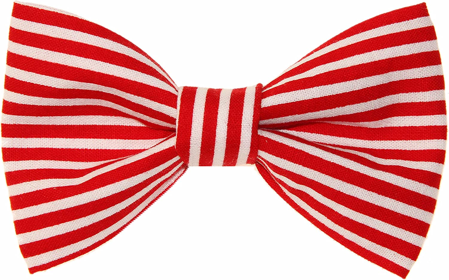 Boys Red White Striped Clip On Cotton Bow Tie