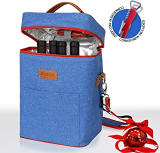 Wine Carrier Tote for Long Time Thermal Insulation, 4 Bottle Travel Wine Cooler Bag with Pocket and Adjustable Shoulder Strap for Wine Lover Gifts, Corkscrew Included by ZOMSTA, Blue