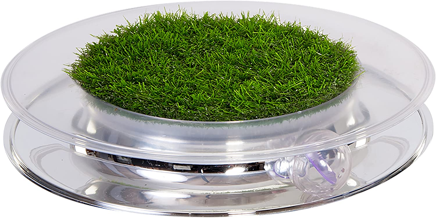 Petstages 739 Nature Track Chasing Batting FauxGrass Fun Ball Cat Toy