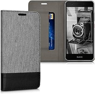 kwmobile 対応: Huawei Nova ケース - 布 手帳型 スマホカバー - カード入れ スタンド付き ファーウェイ ノバ