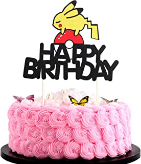 Artczlay Happy Birthday Cake Topper Cute Pikachu Elf Ball Theme Flash Cake Topper Baby Party Children's Birthday Party Cake Decoration (Gold Red Black)