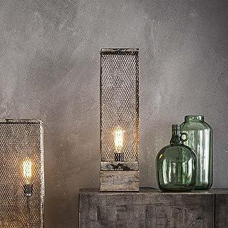 famlights Käthe Lampe de table en bois avec filet en métal gris 1 x E27 Design industriel élégant Lampe de table pour salo...