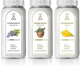 Sel de bain Zen Rituals pour la relaxation set avec 3 bouteilles - magnésium ylang ylang, herbes médicinales au sel d'Epso...