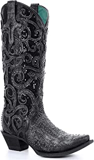 CORRAL C3446 Womens Black Midnight Sequin Overlay Studded Western Boots - Snip Toe