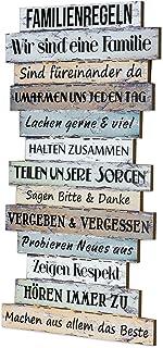 Cartel de madera 51x 33cm Familia Reglas pared