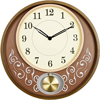 Bestime 13 inch Vintage Wooden Wall Clock with Pendulum, Look Grace, Classic and Vintage. Battery Operated Non-Ticking Qua...