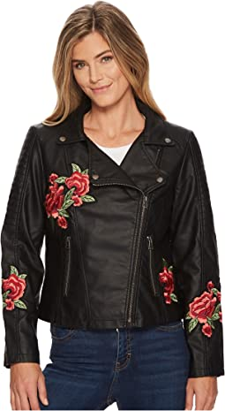 Biker Jacket with Floral Patches