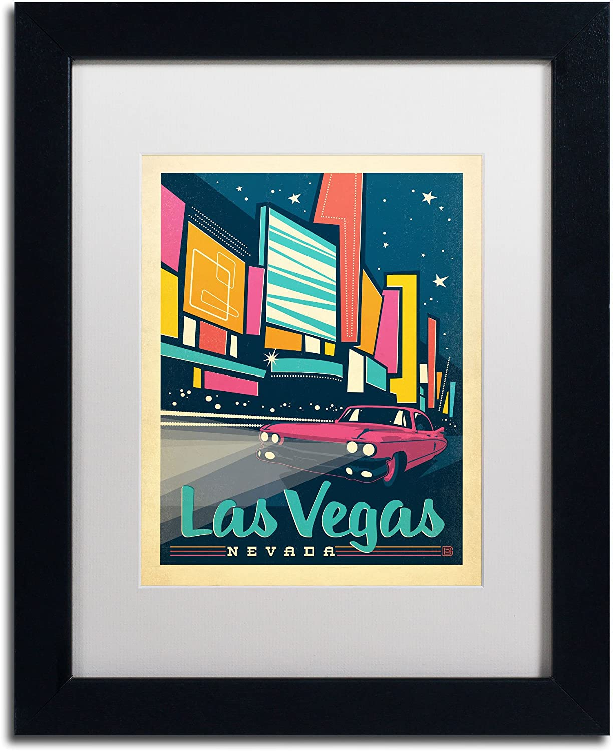 Trademark Fine Art Las Vegas Nevada Canvas Artwork by Anderson Design Group, 11 by 14Inch, White Matte with Black Frame
