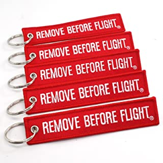 Rotary13B1 Remove Before Flight Key Chain - 5 Pack Red with White Letters