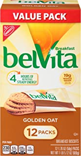 belVita Breakfast Biscuits, Golden Oat Flavor, 12 Packs (4 Biscuits Per Pack)