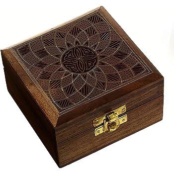 Petite Bo/îte /à Bijoux Marocaine en bois Dubhe 20cm Bo/îte de Rangement Orientale avec Couvercle pour Filles Femmes et Hommes D/écoration de Table Indienne dans la Chambre ou Cuisine