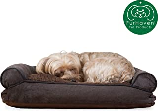Furhaven Pet Dog Bed | Faux Fleece & Chenille Soft Woven Pillow Cushion Traditional Sofa-Style Living Room Couch Pet Bed w/ Removable Cover for Dogs & Cats, Coffee, Small