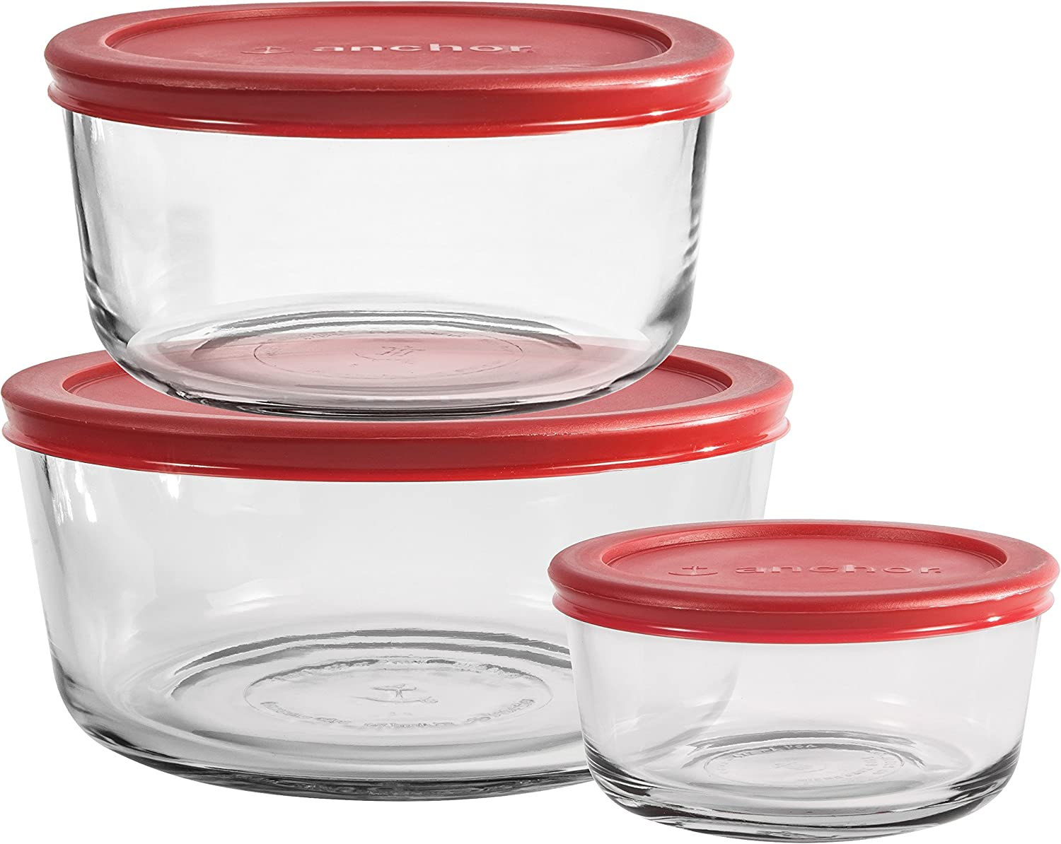 Anchor Hocking Glass Storage 3-Container Set with Lids