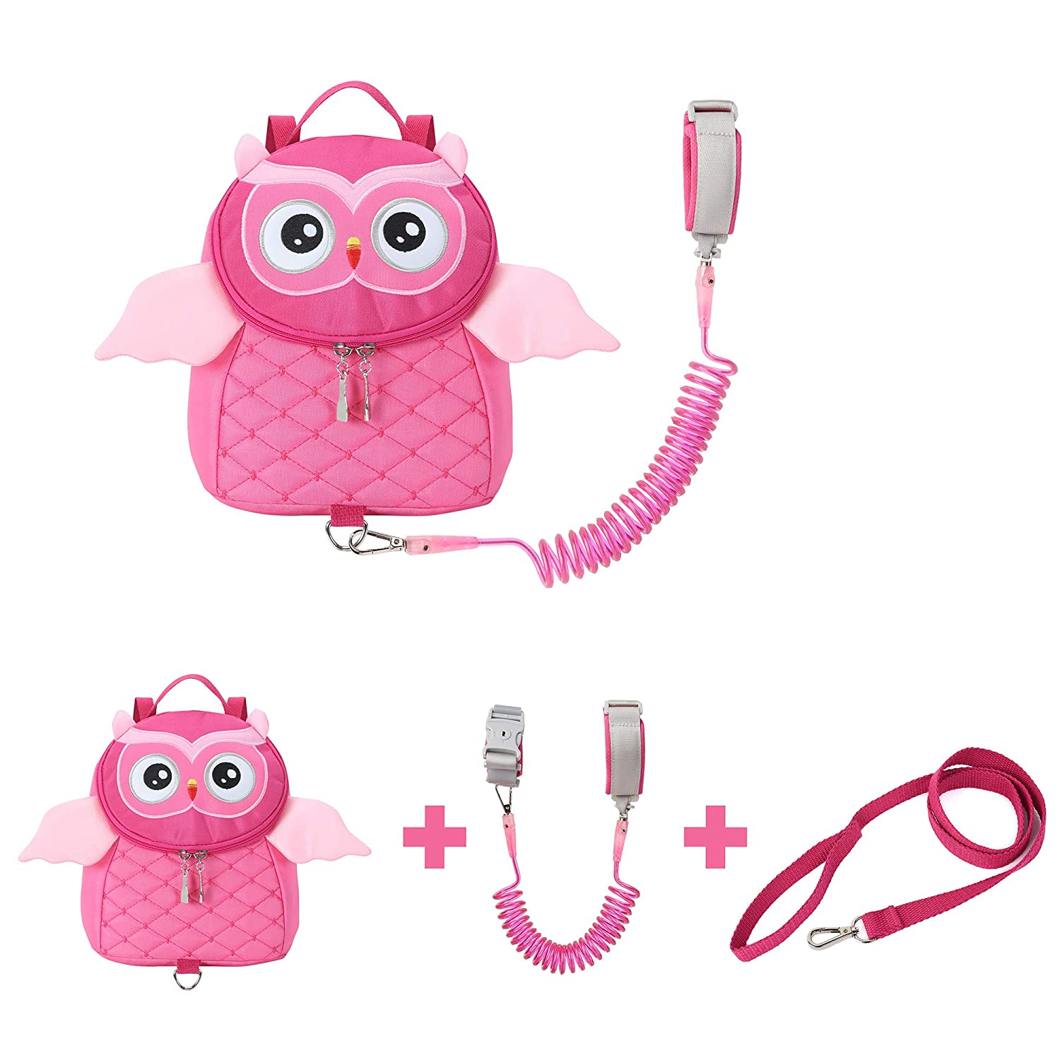 EPLAZA Toddler Leashes Owl-Like Backpacks with Anti Lost Wrist Link Wristband for 1.5 to 3 Years Kids Girls Boys Safety (Owl Rose)