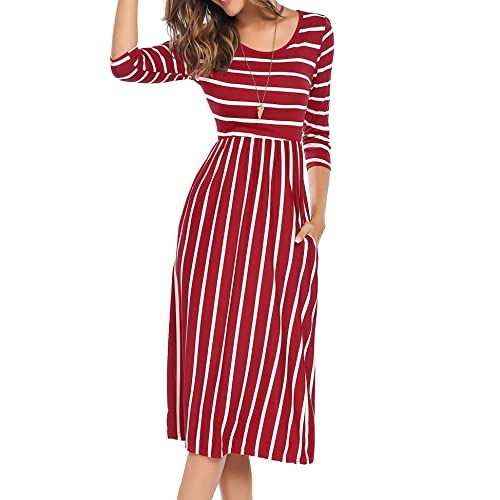 0be0000e2b2 Halife Women s 3 4 Sleeve Stripe Elastic Waist Casual Dress with Pocket
