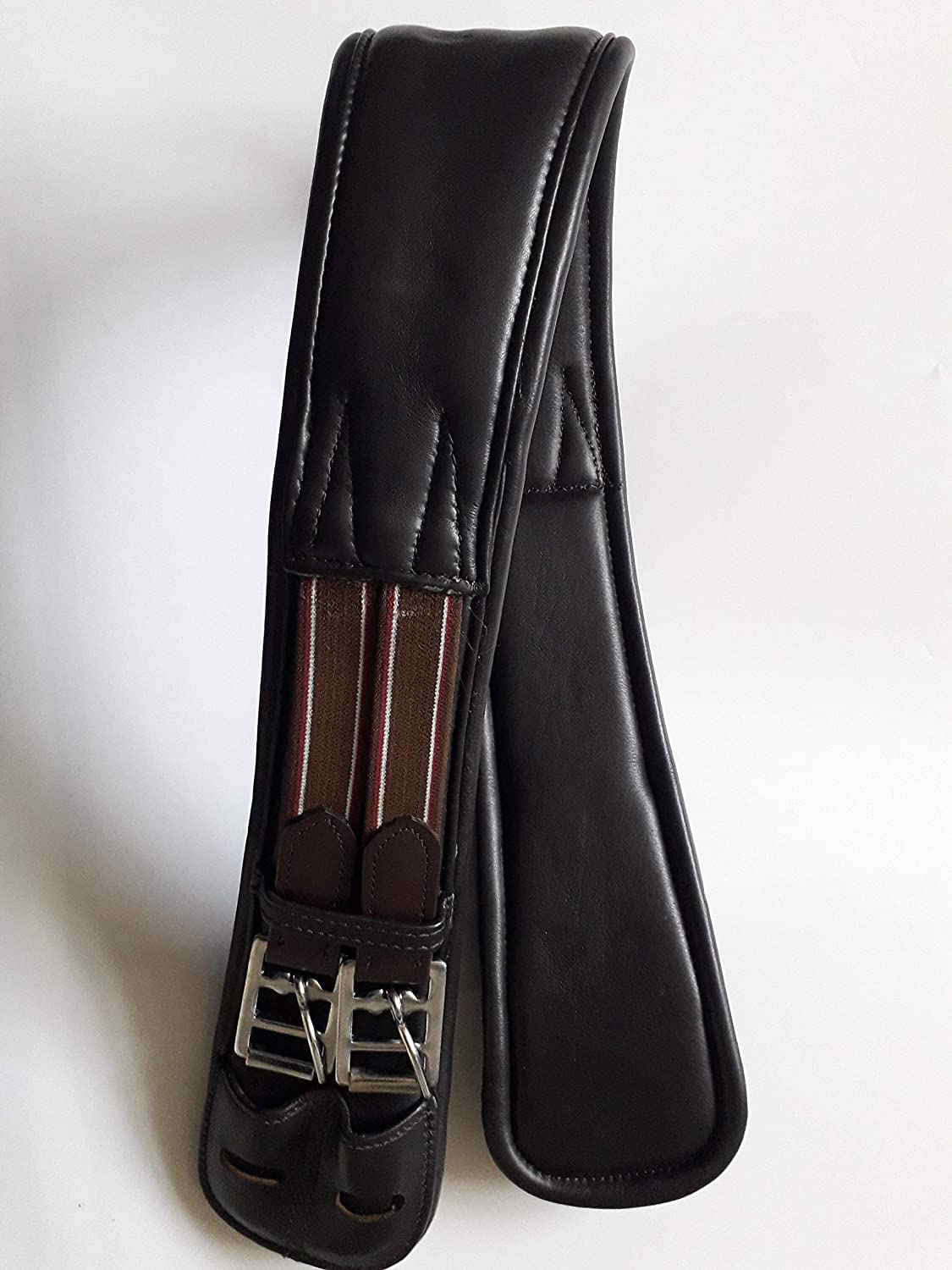 30, Black A/&S Equestrian Horse Cob Leather Girth Dressage//Eventing Short Girth Anatomical Shaped