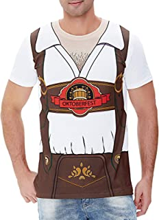 Uomo Oktoberfest Lederhosen Costume T-shirt Bianca Festa Della Birra Maglietta