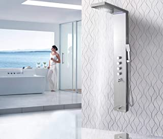 XZST LED Stainless Steel Super Large Rainfall Shower Panel Rain Massage System With Shower Jets and 3 Function Hand Shower Column, Brushed- 59 Inch …