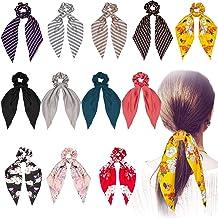 12 piezas de bufanda de pelo para el cabello, pañuelos para el pelo de la bufanda bowknot, soporte de cola de caballo para mujeres niñas