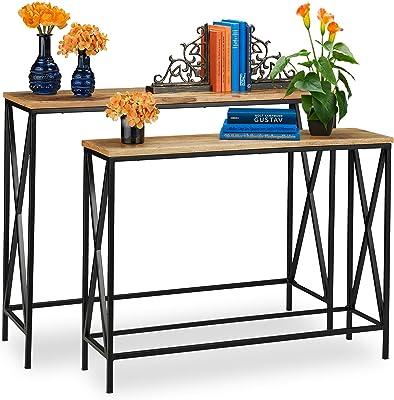 relaxdays Table Console, Bois de manguier, Lot de 2, Style Industriel, entrée & Salon, métal, Meubles, Nature, Fer, Naturel/Noir