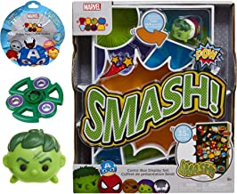 Comic Smash Tsum Fun Tsum it! Marvel Mini Characters Incredible Hulk with Display Box Case + Disney Blind Bag Pint Mini Figure & 1 Stackable Accessory Super Heroes Activity Toy Pack