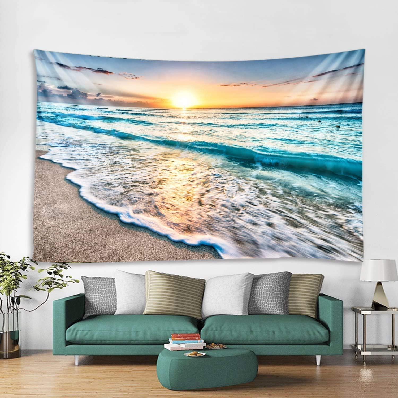 dormitorio Tapiz de pared con dise/ño de paisaje natural DreamyDesign Seaside Sunset decoraci/ón de paisaje natural art/ículos esenciales para la decoraci/ón del hogar